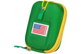 (Green with Yellow Edge) - USA Flag Golf Range Finder Bag Hard Case for Tectectec Callaway and Other Most Brands