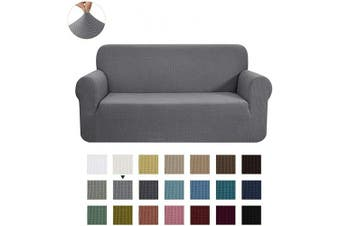 (X-Large, Light Gray) - CHUN YI Stretch Oversized Sofa Slipcover 1-Piece Couch Cover Furniture Protector, 4 Seater Coat Soft with Elastic Bottom, Cheques Spandex Jacquard Fabric, X-Large, Light Grey