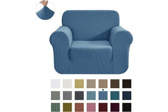 (Small, Denim Blue) - CHUN YI Stretch Chair Sofa Slipcover 1-Piece Couch Cover Furniture Protector, 1 Seater Coat Soft with Elastic Bottom, Cheques Spandex Jacquard Fabric, Small, Denim Blue