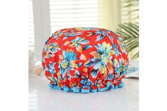 (Blue Flower) - Mould Resistant Lined Shower Cap -Auma Bath Cap Designed for Women Spa, Waterproof Double Layer Shower Caps,Home Use, Hotel and Hair Salon, Portable Travel - Blue Flower