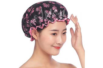 (Red Bow) - Mould Resistant Lined Shower Cap -Auma Bath Cap Designed for Women Spa, Waterproof Double Layer Shower Caps,Home Use, Hotel and Hair Salon, Portable Travel - Red Bow