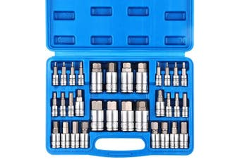 (32 Piece Master Hex Bit Socket Set) - CASOMAN 32 Piece Master Hex Bit Socket Set, S2 Steel, SAE And Metric, Allen Socket Bit, 5/64-inch to 3/4-inch, 2mm to 19mm Socket Tool Kit