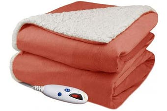(Spice) - Biddeford Velour Sherpa Electric Heated Warming Throw Blanket Spice Washable Auto Shut Off 6 Heat Settings