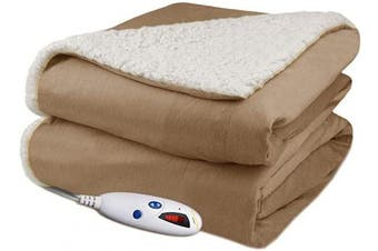 (Caramel) - Biddeford Velour Sherpa Electric Heated Warming Throw Blanket Caramel Washable Auto Shut Off 6 Heat Settings