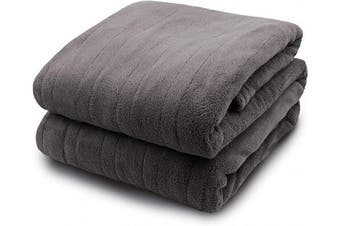 (King, Grey) - Biddeford Blankets Micro Plush Electric Heated Blanket with Digital Controller, King, Grey