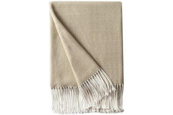 (Beige) - Bourina Decorative Diamond Lattice Faux Cashmere Fringe Throw Blanket Lightweight Soft Cosy for Bed or Sofa Farmhouse Outdoor Throw Blankets, 130cm x 150cm , Beige
