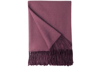 (Burgundy) - Bourina Herringbone Two Tone Throw Blanket Faux Cashmere Fringe Soft Lightweight Cosy for Bed Couch Decorative Throws Blanket, Burgundy, 130cm x 150cm