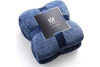 (Twin(170cm  x 230cm ), Sapphire Blue) - Kingole Flannel Fleece Luxury Throw Blanket, Sapphire Blue Twin Size Jacquard Weave Pattern Cosy Couch/Bed Super Soft and Warm Plush Microfiber 350GSM (170cm x 230cm )