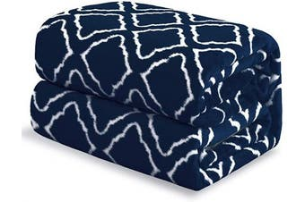 (Queen(230cm  x 230cm ), Navy) - Bedsure Flannel Fleece Blanket Printed - Lattice Scroll - Blanket for Bed, Couch, Car, Office, Camping Travel and Gifts - Queen Size, 230cm x 230cm , Navy