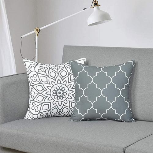 (46cm  x 46cm , Gray Pillow1) - Fascidorm Set of 2 Grey Decorative Pillows with Inserts Modern Throw Pillows Cushion Pillows for Bed Sofa Chair Car 46cm x 46cm Size: 46cm  x 46cm Colour: Gray Pillow1