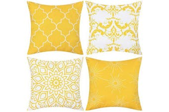 (46cm  x 46cm , Yellow) - Fascidorm Set of 4 Throw Pillow Covers Modern Decorative Throw Pillow Case Morocco Pattern Pillow Covers Cushion Case for Room Bedroom Room Sofa Chair Car, Yellow, 46cm x 46cm