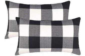 (30cm  x 50cm , Black & White) - 4TH Emotion Set of 2 Farmhouse Buffalo Cheque Plaid Throw Pillow Covers Cushion Case Cotton Linen for Fall Home Decor Black and White, 30cm x 50cm