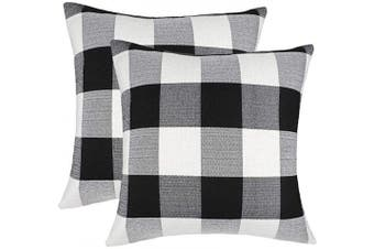 (60cm  x 60cm , Black & White) - 4TH Emotion Set of 2 Farmhouse Buffalo Cheque Plaid Throw Pillow Covers Cushion Case Cotton Linen for Fall Home Decor Black and White, 60cm x 60cm
