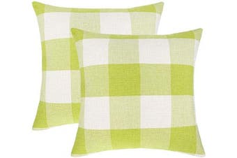(46cm  x 46cm , Bright Green & White) - 4TH Emotion Set of 2 Bright Green White Buffalo Cheque Plaid Throw Pillow Covers Cushion Case Spring Home Decor Cotton Linen, 46cm x 46cm