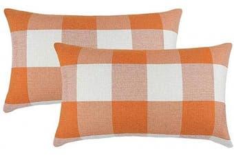 (30cm  x 50cm , Orange & White) - 4TH Emotion Set of 2 Orange and White Buffalo Cheque Plaid Throw Pillow Covers Cushion Case Cotton Linen for Fall Farmhouse Home Decor, 30cm x 50cm