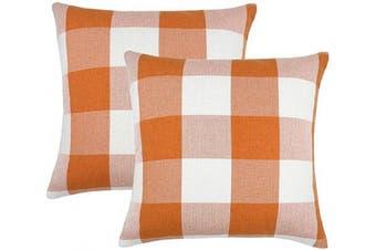 (46cm  x 46cm , Orange & White) - 4TH Emotion Set of 2 Orange and White Buffalo Cheque Plaid Throw Pillow Covers Cushion Case Cotton Linen for Fall Farmhouse Home Decor, 46cm x 46cm