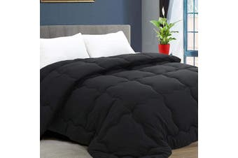 (Twin, Black) - KARRISM All Season Down Alternative Comforter, Winter Warm Ultra Soft Quilted Duvet Insert with Corner Tabs, Wavy Box Stitched, Hypoallergenic, Luxury Hotel Collection (Black, Twin)