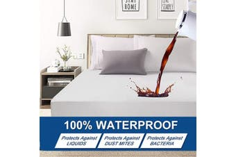 (Twin XL, Waterproof Mattress Protector) - Abakan Twin XL Mattress Protector 100% Waterproof Super Soft Breathable Noiseless Premium Fitted Mattress Pad Cover Luxury Elastic Deep Pocket Vinyl Free Bed Cover 100cm x 200cm
