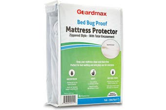 (Full 140cm  x 190cm ) - Guardmax Bed Bug Mattress Protector Cover Zippered | 100% Waterproof Encasement | Soft, Hypoallergenic and Breathable | Full Size (54x75x11)