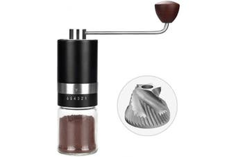 (black color) - Manual Burr Coffee Grinder (Stainless Steel Burr) Grinder Burr 6 Adjustable Setting Portable Hand Crank Coffee Bean Mill for Coffee Gift Espresso,French Press,Aeropress Coffee for Hand Grinder