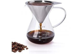 (400 ml) - Pour Over Coffee Maker Paperless Reusable Stainless Steel Filter and BPA-Free Glass Carafe Hand Coffee Dripper Brewer Pot 13.5 Ounce/ 400 ml