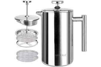 (500ml, Silver) - Secura French Press Coffee Maker, 304 Grade Stainless Steel Insulated Coffee Press with 2 Extra Screens, 500ml (0.5 Litre), Silver