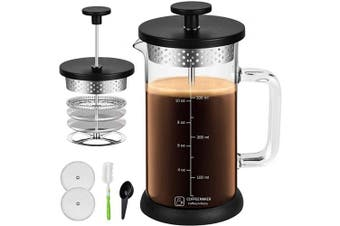 (350ml, Black) - French Press Coffee Maker 350ml Built In Thicker Borosilicate Glass with 304 Grade Stainless Steel 4 Level Filter Screens, Easy Clean & Using Coffee Press For Home, Kitchen, Office-Black