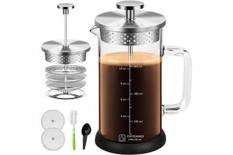 (350ml, Silver) - Small French Press Coffee Maker 350ml Built In Thicker Borosilicate Glass with 304 Grade Stainless Steel 4 Level Filter Screens, Easy Clean & Using Coffee Press For Home, Kitchen, Office-Silver
