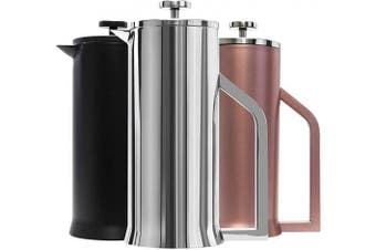 (Polished Stainless Steel) - Lafeeca French Press Coffee Maker - Stainless Steel Double Wall Vacuum Insulated - Large Thermal Brewer 34 oz 1000 ml Polished