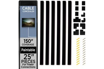 """(380cm , Black) - Cable Shield Cable Concealer On-Wall Cord Cover with 6, 25"""" Raceways – 150"""" Cable Management System Hides Cords, Wires for Wall TVs, Computers – Black"""