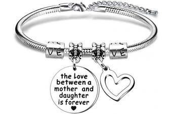 Daughter Mother Gift,Silver Engraved Pendant Snake Bracelet For Women Lady Girl Adjustable