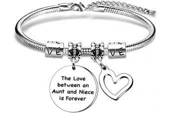 Aunt Niece Gift,Silver Heart Pendant Snake Bracelet For Women Lady Girl Family Gift