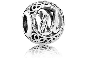 (U) - Letter Alphabet Charms Vintage A to Z Clear Cubic Zirconia (CZ) Alphabet Letter Sterling Silver Charm beads Initial charms for bracelets, Bangles & Necklaces