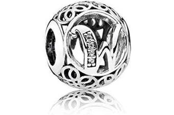 (W) - Letter Alphabet Charms Vintage A to Z Clear Cubic Zirconia (CZ) Alphabet Letter Sterling Silver Charm beads Initial charms for bracelets, Bangles & Necklaces