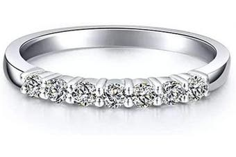 (L) - AINUOSHI Half Eternity Band Sparkling Simulated Diamonds with CZ Cubic Zirconia Sterling Silver Wedding Ring