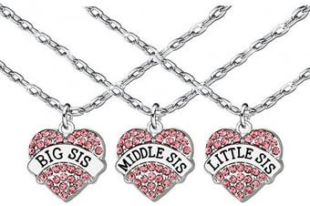 3Pcs Women Family Jewellery Set Silver Pink Crystal Love Heart Big Middle Little Sister Pendant Necklace