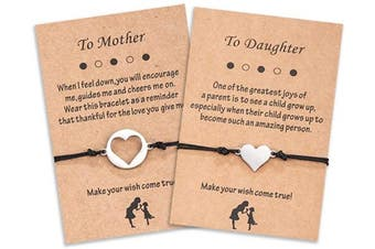 (A. Mother Daughter-heart) - Cheerslife Mother and Daughter Bracelet Set Handmade Generation Family String Bracelets Gift for Grandma Mum and Me