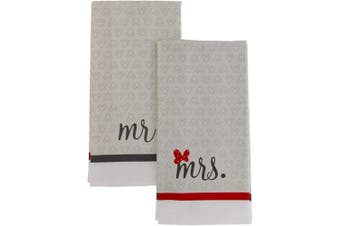 (Light Grey - Mr. and Mrs.) - Disney 100% Cotton Kitchen Towels, 2pk-Soft and Absorbent Decorative Kitchen Towels Perfect for Drying Dishes and Hands-Machine Washable Kitchen Towel Set, 41cm x 70cm - Mr. and Mrs.