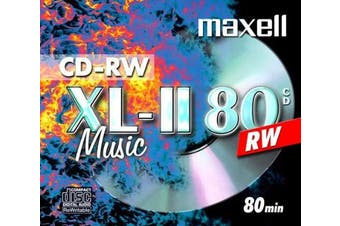 Maxell CD-RW 80 Storage Media (Audio / Music 80 minutes) - Pack of 10 disc in jewel case