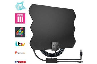 TV Aerial, Indoor TV Aerial 120+ Miles Range for Digital Freeview 4K 1080P HD VHF UHF for Local Channels with Signal Amplifier Support All TV's - 5m Coax Cable