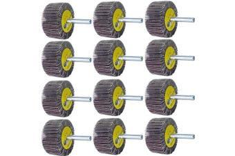 "M-jump 12 Pcs 2""X 1"" X1/4"" Flap Wheels Set –3 pcs Of Each 40 60 80 and 120 Grits Aluminium Oxide for Remove Rust and Weld Burr – 1/4 Shank Fits All Drills"