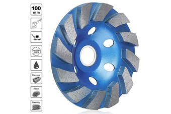 (Blue) - SUNJOYCO 10cm Diamond Cup Grinding Wheel, 12-Segment Heavy Duty Turbo Row Concrete Grinding Wheel Disc for Angle Grinder, for Granite, Stone, Marble, Masonry, Concrete