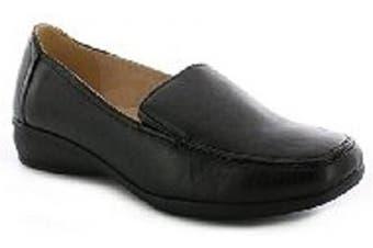 (7 UK, Black Matt) - Heelbox Womens Ladies Flat Wedge Leather Lining Wide Fit Comfort Soft Work Shoes Size