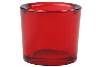 (12, Red) - Bluecorn Beeswax Heavy Glass Votive and Tea Light Candle Holders (12, Red)