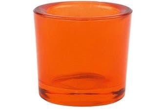 (12, Orange) - Bluecorn Beeswax Heavy Glass Votive and Tea Light Candle Holders (12, Orange)