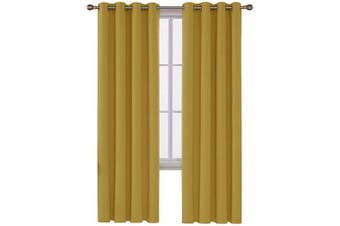 (130cm  x 240cm , Turmeric) - Deconovo Thermal Insulated Blackout Curtains for Living Room, 130cm x 240cm , Turmeric