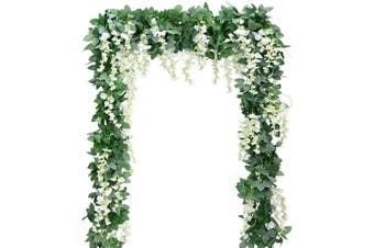 (5, White) - Artificial Flowers Silk Wisteria Vine 5pcs 2m/Piece Ivy Leaves Garland Wisteria Artificial Plants Greenery Fake Hanging Vines Green Leaf Garland for Wedding Kitchen Home Party Decor (White)