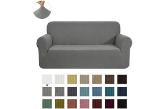 (Medium, Dove Gray) - CHUN YI Stretch Loveseat Sofa Slipcover 1-Piece Couch Cover Furniture Protector, 2 Seater Coat Soft with Elastic Bottom, Cheques Spandex Jacquard Fabric, Medium, Dove Grey