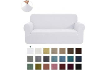 (Large, White) - CHUN YI 1-Piece Jacquard High Stretch Sofa Slipcover, Polyester and Spandex 3 Seater Cushion Couch Cover Coat Slipcover, Furniture Protector Cover for Sofa and Couch (Sofa, White)