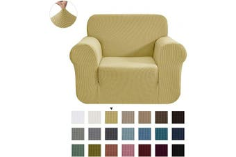 (Small, Beige) - CHUN YI Stretch Chair Sofa Slipcover 1-Piece Couch Cover Furniture Protector, 1 Seater Coat Soft with Elastic Bottom, Cheques Spandex Jacquard Fabric, Small, Beige